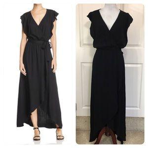 Splendid Faux Wrap Ruffled Sleeve Maxi Dress